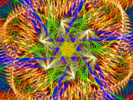 Abstract multicolored fractal. 3D rendering. Stock Photo