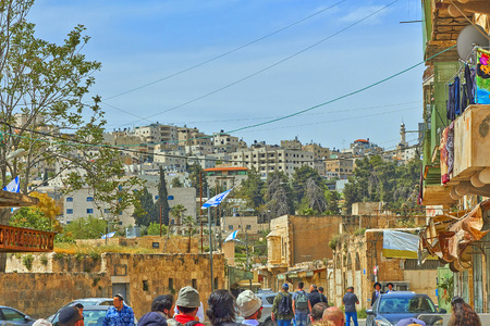 Tourists. Hebron. Ancient Jewish city in Israel.
