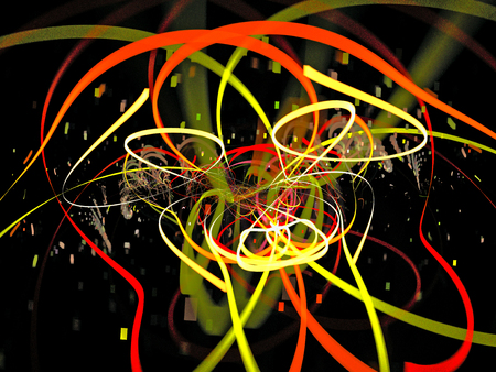 Clever dog. Abstract Magic energy multicolored fractal. 3D rendering.
