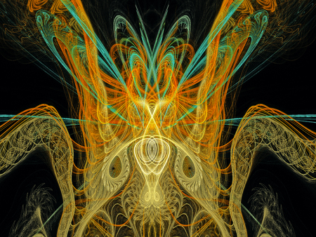 Abstract Magic energy multicolored fractal. 3D rendering.