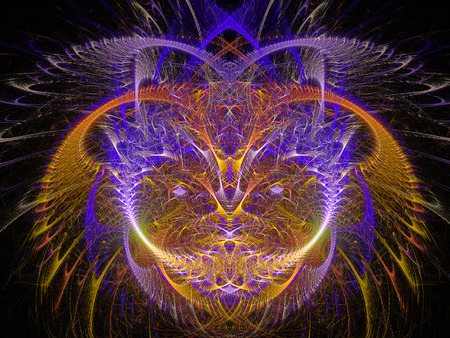 Pussycat. Abstract Magic energy multicolored fractal. 3D rendering. Stock Photo
