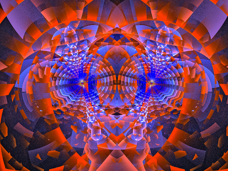 Texture in red style. Abstract Magic energy multicolored fractal. 3D rendering.
