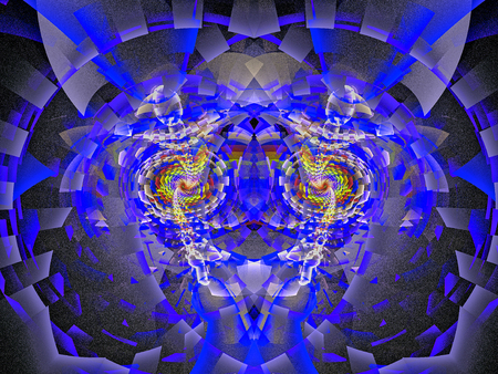 Wolf. Abstract multicolored fractal. 3D rendering. Stock Photo