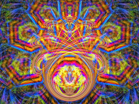 Mexican motives. Texture in multicolored style. Abstract Magic energy multicolored fractal. 3D rendering.