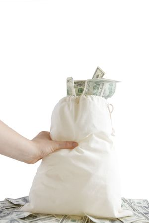 Canvas mony sack with one hundred dollar bills