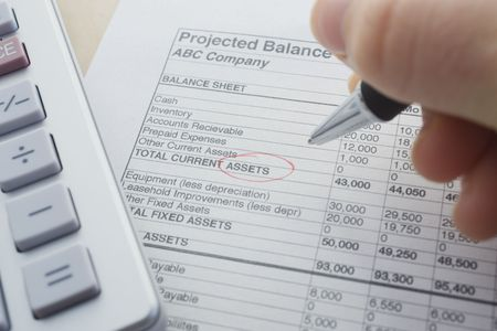 total loss: financial balance sheet with calculator and pen