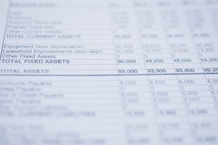 Macro shot of General balance sheet
