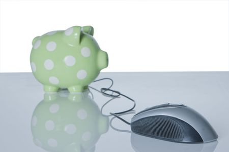 computer mouse connected to piggy bank Stock Photo - 4934125