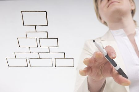 going with the flow chart: woman working blank flow chart on transparent surface  Stock Photo