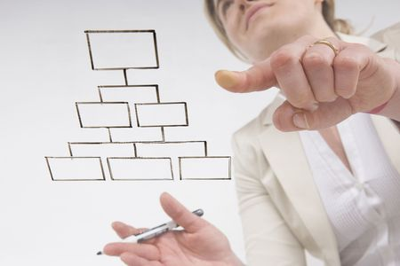 point and flow: woman working blank flow chart on transparent surface Stock Photo - 5088079