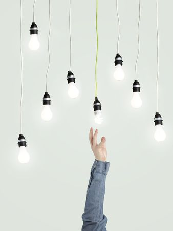 lamp light: creativity  and energy concept  Stock Photo