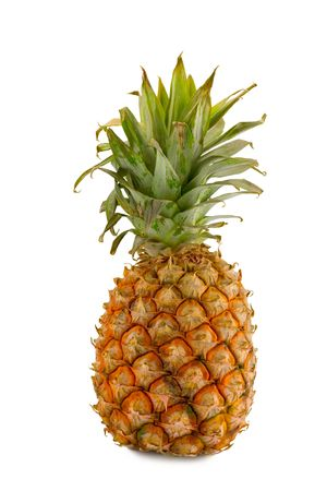 fruitage: the large full pineapple isolated on white background