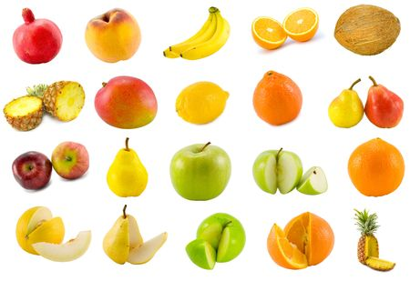 twenty tropical fruits collection isolated on white background