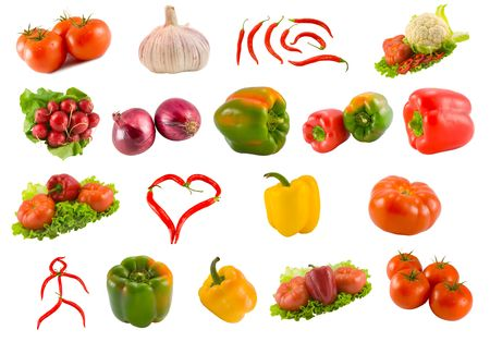 collection from vegetables isolated on white background