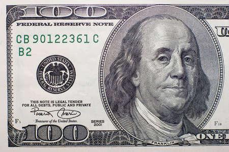 La macro de 100 dollars de billets de banque