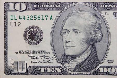 Tne 10 dollars banknote macro Stock Photo