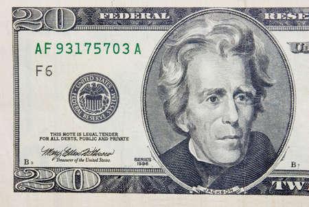 The 20 dollars banknote macro photo