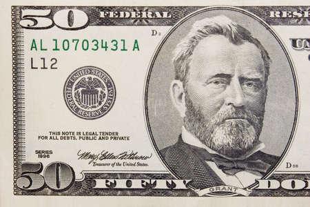 number 50: Los cincuenta d�lares en billetes de banco macro  Foto de archivo