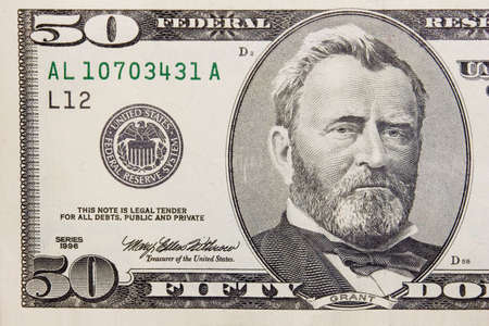 Die fünfzig Dollar-Banknote Makro