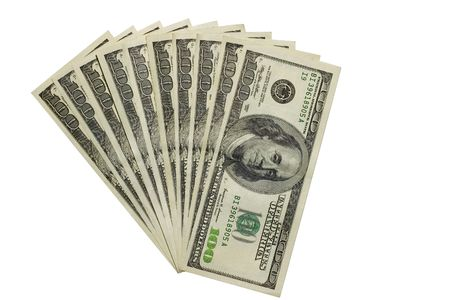 The thousand dollars isolated with clipping path Stock Photo - 541884