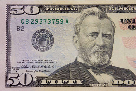 plunder: The fifty dollars banknote macro Stock Photo