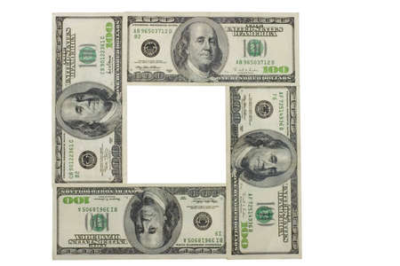 plunder: frame from dollars with clipping path Stock Photo
