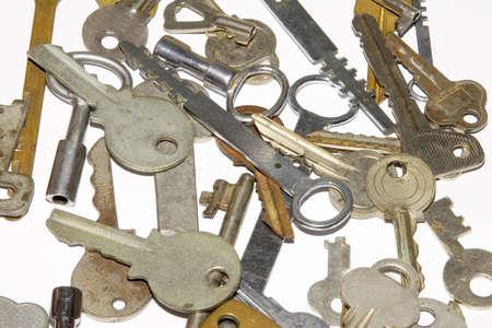 passkey: the many old keys on white background