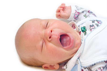 familiy: the portrait of newborn in high key technique Stock Photo