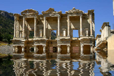 ruinous: The antique library in Ephesus, also known as Celsiuss library Stock Photo
