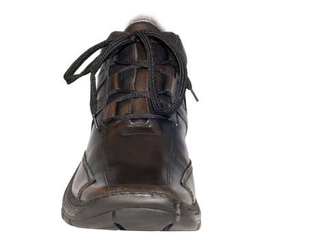 the brown shoe from leather isolated with clipping path photo