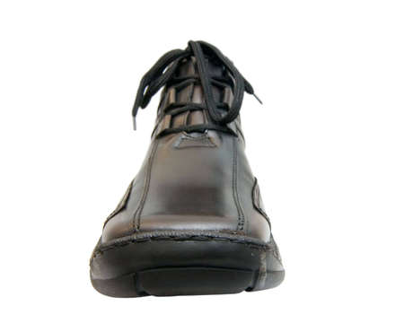 the brown shoe from leatheron white background photo