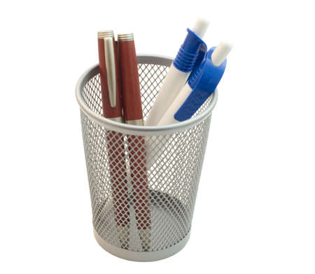 four pens in basket isolated with clipping path Stock Photo - 623257