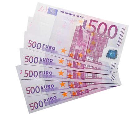 fondos violeta: los cinco centenares billetes en euros con el recorte camino