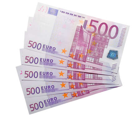 hundreds: the five hundreds euro banknotes with clipping path Stock Photo