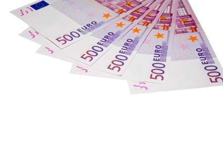 fondos violeta: los cinco centenares los billetes en euros con saturaci�n camino  Foto de archivo