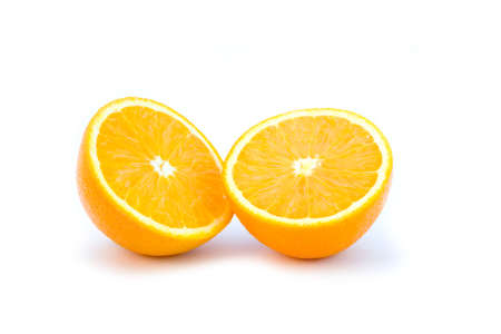 the two orange half isolated on white background Stock Photo