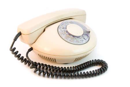 the retro design telephone isolated on white background Stock Photo