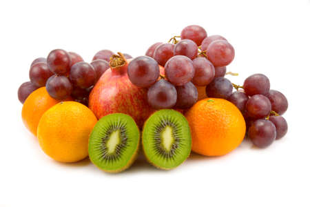 the fruits on white background with shadow