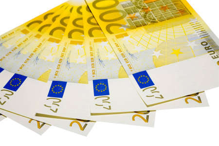 the two hundreds euro banknotes with clipping path photo
