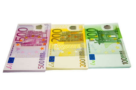 batch of euro: the tree bundles of euro banknotes with clipping path Stock Photo