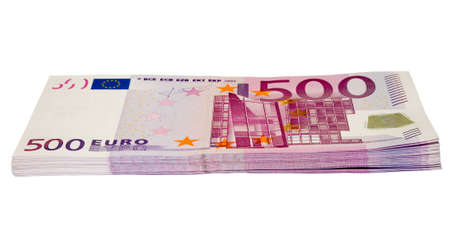 the 500 euro banknotes heap with clipping path