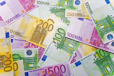 hard sell: the background from 100, 200 and 500 euro banknotes