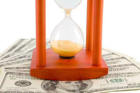 the brown hour-glass on background from US dollars