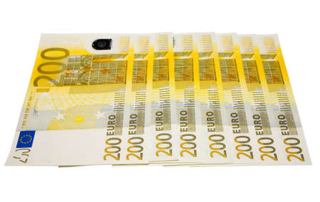 the some 200 euro banknotes with clipping path Stock Photo - 754714