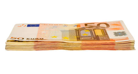 batch of euro: the heap from fifty euro banknotes with clipping path Stock Photo