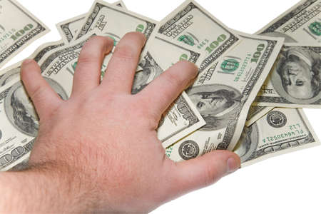 the man hand over some dollars banknotes with clipping path Stock Photo - 754719