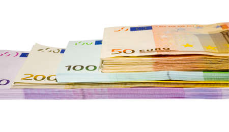 batch of euro: the four bundles of euro banknotes with clipping path