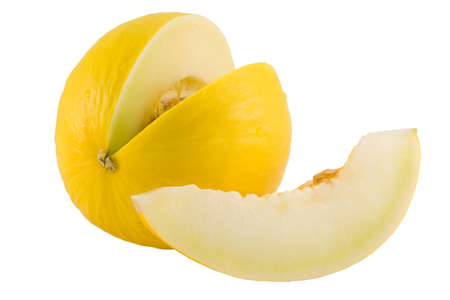 the slit yellow melon isolated on white background
