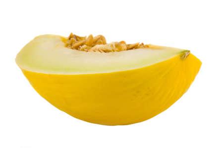 slit: the slit yellow melon isolated on white background