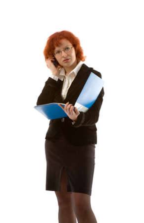 the young businesswoman with folder and mobile phone photo